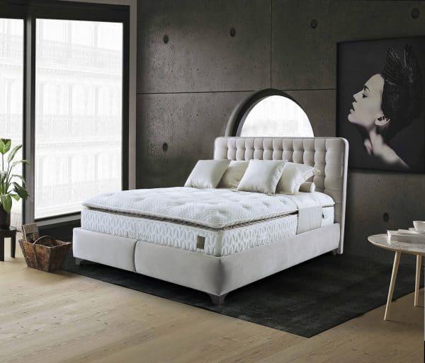 מיטה מרופדת, מעוצבת עם ארגז מצעים דגם נובה+ראש לטו